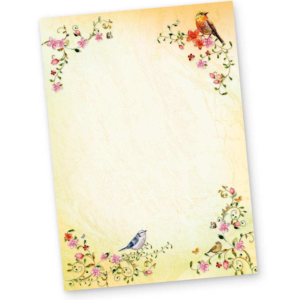 briefpapier v gel toskana 20 blatt motivpapier a4 mit blumen und v gel ebay. Black Bedroom Furniture Sets. Home Design Ideas